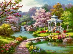 Spring gazebo - flowers, reflection, art, waterfall, blossoms, water, relax, nice, scent, forest, creek, retty, place, trees, rest, painting, blooming, serenity, paradise, footbridge, peaceful, lake, spring, beautiful, river, gazebo, path, fall, falling, fragrance, calm, quiet, colorful, shore, lovely, pond, bridge, nature, stream