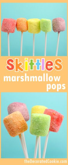 Rainbow party or unicorn food marshmallow pops using ground skittles candy. How to make skittles marshmallows on a stick: rainbow marshmallow pops colored with ground Skittles candy, perfect unicorn food idea. Skittles Recipes, Candy Recipes, Skittles Cake, Chocolate Dipped Marshmallows, How To Make Marshmallows, Rainbow Treats, Rainbow Food, Rainbow Desserts, Rainbow Stuff