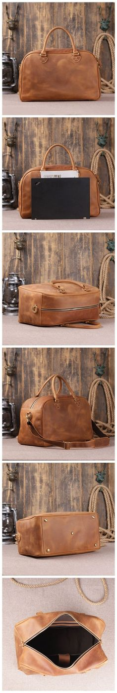 This bag is made of superior genuine cowhide leather, which the leather is very thick and top quality. It can be carried as a everyday bag perfectly. The bag size is large enough to fit many clothes, a 15 inches laptop, an iPad, and many other accessories.