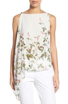 Adrianna Papell Floral Print Asymmetrical Chiffon Blouse available at Look Fashion, Fashion Outfits, Womens Fashion, Fashion Design, Sewing Blouses, Women's Blouses, Dress Patterns, Blouse Designs, Shirt Outfit