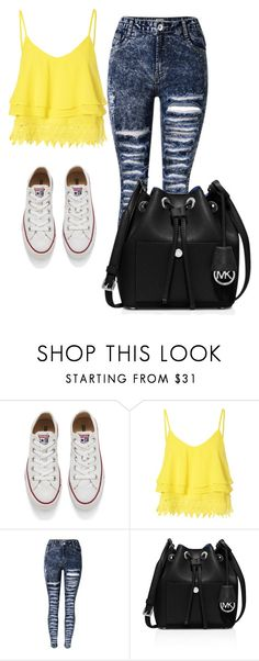 """""""Yellow"""" by kayleighmw on Polyvore featuring Converse, Glamorous and MICHAEL Michael Kors"""