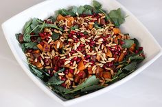 Baby Kale and Roasted Sweet Potato Salad with Pomegranate and Toasted Pine Nuts (Gluten-free + Vegan)