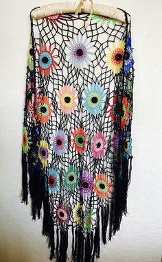 A personal favourite from my Etsy shop https://www.etsy.com/listing/522833814/colorful-crochet-shawl-boho-gypsy-shawl