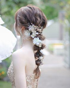 Wedding Makeup, Wedding Bride, Wedding Dresses, Hair Arrange, Half Up Half Down Hair, Hair Vine, Floral Hair, Bride Hairstyles, Flowers In Hair