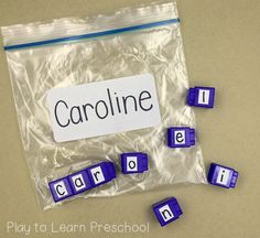 Easy Do-It-Yourself Name Activities for Preschoolers (Play to Learn Preschool) Name Writing Activities, Preschool Writing, Preschool Learning, Learning Activities, Preschool Language Activities, Phonics For Preschool, Preschool Classroom Centers, Home Preschool, Pre School Activities