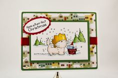 Christmas Card  Cat and Birds wishing you a Purrfect by TrioCards, $4.00