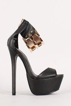 Metallic Ankle Cuff Open Toe Platform Heel