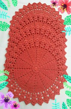 Crochet doily Step by step Tut Crochet Placemats, Crochet Table Runner, Crochet Dishcloths, Crochet Hot Pads, Cute Crochet, Crochet Circles, Crochet Round, Doily Patterns, Crochet Patterns