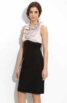 Js Collections Ruffle Neck Satin & Crepe Sheath Dress in Pink (blush / black) | Lyst