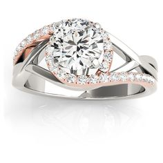 Allurez Diamond Halo Twisted Engagement Ring Setting 14k Rose Gold... ($1,395) ❤ liked on Polyvore featuring jewelry, rings, halo diamond engagement rings, two tone engagement rings, halo diamond ring, rose gold engagement rings and engagement rings