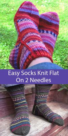 Easy Socks on 2 Needles Knitting Patterns - These easy to knit socks are knitted. Easy Socks on 2 Needles Knitting Patterns - These easy to knit socks are knitted flat on two needles. Seam with a contra. Easy Knitting, Knitting For Beginners, Knitting Socks, Knitting Needles, Knitted Socks Free Pattern, Knitting Patterns Free, Crochet Patterns, Two Needle Socks, Knitted Slippers