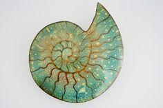 Handmade Ammonite Fossil Enamel Brooch by LindaC1997 on Etsy, $42.00