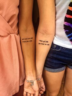 Friendship tattoo #tattoo #friendship #traveltattoos #friendshiptattoos #cute #quote #quotetattoos #things #tattooideas #unique #cutetattos