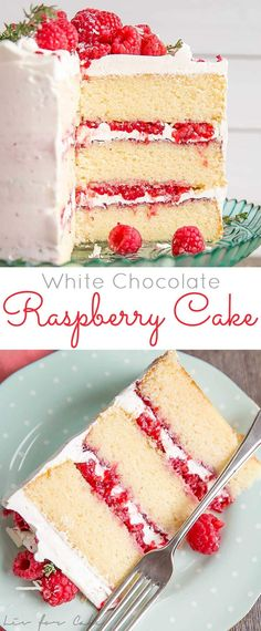 This White Chocolate Raspberry Cake combines white chocolate cake layers with a white chocolate swiss meringue buttercream, fresh raspberries, and raspberry jam. A perfect flavour combination! | livforcake.com