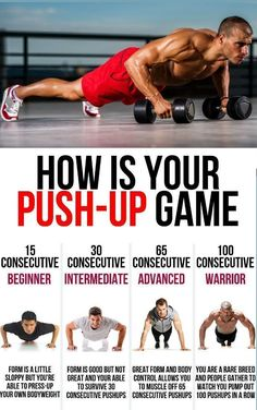 As one of the most common chest exercises for men and women, push-ups have become synonymous with working out. Being able to perform a certain amount is the entry standard for various military and. Push Up Workout, Gym Workout Chart, Gym Workout Tips, At Home Workouts, Fitness Gym, Mens Fitness, Fitness Tips, Fitness Motivation, Bodyweight Fitness