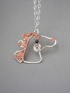 Copper Mane Wire Wrapped Horse Pendant. via Etsy.