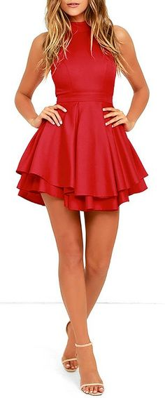 88 elegant red dress ideas make you look sexy Simple Red Dress, Red Skater Dress, Skater Skirt, Casual Dresses, Short Dresses, Rehearsal Dress, Knee Length Dresses, Ladies Dress Design, Swagg