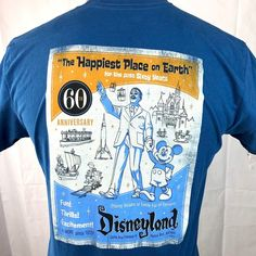 Disneyland Anniversary Retro Ladies L T-Shirt Large Happiest Place on Earth Disneyland 60th, Lady L, 60th Anniversary, Disney Tops, Magic Kingdom, Disney Parks, Cool Pictures, The Past, Disney Collectibles