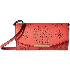 Ivanka Trump Mara Crossbody Wallet (Flamingo Lasercut) Cross Body... ($70) ❤ liked on Polyvore featuring bags, wallets, leather crossbody bags, ivanka trump, red leather wallet, leather snap wallet and flap wallet