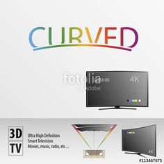 Vector: Curved tv advert for clients background #app #smart #tv #curved #3d #hd #high #definition #4k