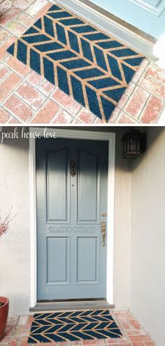 DIY Doormat | Simple DIY Curb Appeal Ideas on a Budget by DIY Ready at  http://diyready.com/diy-ideas-home-improvement-on-a-budget/