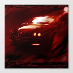 Flaming Alfa Gtv 916 Stretched Canvas by Stefano Rimoldi - $85.00