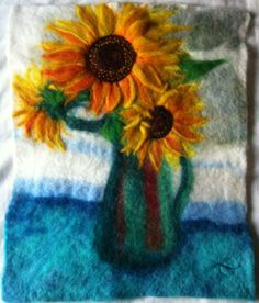 Sunflowers 2011 - Felt Picture 35cm x 42cm, by Bridget Karn Click here for Shop https://www.etsy.com/uk/shop/OrchardLodgeYork