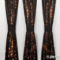 Black Gossamer from Oriental Trading, make curtains & hang lights in them. Great idea.
