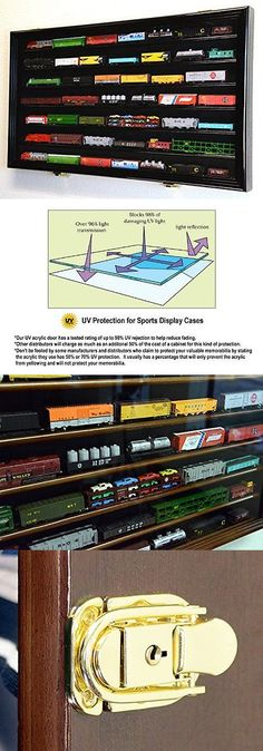Track 69813: N Scale Train Model Trains Display Case Cabinet Wall Rack W 98Pct Uv Lockable - -> BUY IT NOW ONLY: $92.99 on eBay!