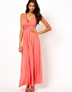 Little Mistress | Little Mistress Wrap Front Embellished Waist Maxi Dress at ASOS