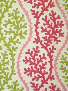 "Coral Splendor Pink Sand.  P. Kaufmann Fabric 100% cotton fine line twill coral print. 13.5"" repeat. 54"" wide."