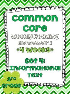 3rd Grade Common Core Weekly Reading Review {Set 4: Informational Text} $