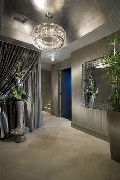 ♂ Masculine interior design metallic ceiling chandelier glam interior design…