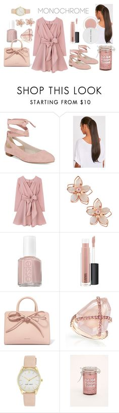 """Monochrome Roses"" by unstoppable-kiwi ❤ liked on Polyvore featuring Kenneth Cole, NAKAMOL, Essie, MAC Cosmetics, Mansur Gavriel, Nine West, Torrid and Herbivore"
