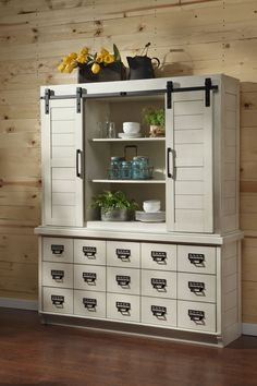 The Magnolia Home Farmhouse China Cabinet is beautifully crafted of pinewood with an antique style that adds feel-good country charm. Cabinet Furniture, Living Furniture, Furniture Decor, Pallet Furniture, Painted Furniture, Home Decor Kitchen, Home Decor Bedroom, Kitchen Ideas, Master Bedroom