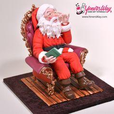 Santa Claus in a Chair Topper - Cake by Yeners Way - Cake Art Tutorials Cake Topper Tutorial, Cake Toppers, Christmas Themes, Christmas Cakes, Christmas 2019, Xmas, Santa Cake, Geek Magazine, Cake Models