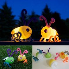 Old Easter eggs and electric tea lights create fireflies!! So cute!