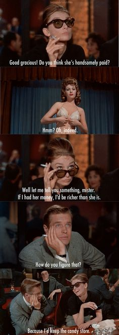 "Holly (Audrey) drunkenly thinks out loud to Fred (George Peppard) in the strip bar scene in ""Breakfast at Tiffany's"" , directed by Blake Edwards."