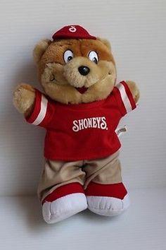 "12"" Stuffed Plush SHONEY'S Brown Bear Advertising Logo Promotional Item"