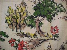 Vintage Antique Cotton Quilt Barkcloth Fabric Drapery HUGE 1940s Craft 80x80""