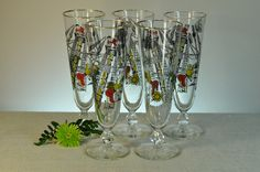 Pirate Pilsner Beer Glasses Trimmed with Gold - Set of Five - Beautiful Mad Men Era Glasses Make a Great Gift for Him. $39.98, via Etsy/ClassicCabin