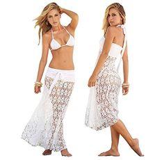 Langes Strandkleid Damen Spitze Weiss Tunika Netzshirt Bademode Sommer Bikini Größe S/M