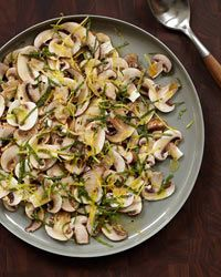 "Mushroom Salad with Mint | Here, mushrooms are drizzled with lemon juice in a salad Joe Bastianich calls ""soulful but still filling."""