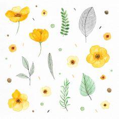 Plantas y flores pintadas con acuarelas Vector Gratis