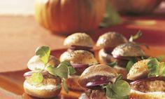 Mini-Kürbis-Burger - Rezepte - Schweizer Milch Mini Hamburgers, Rind, Garlic, Stuffed Mushrooms, Vegetables, Gourd, Food, Simple, Food Food