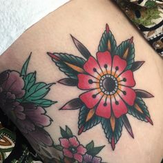 American traditional tattoos — therealjonftw:   Little flower for Christina,...