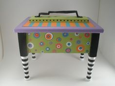 Shoe Shine Box, Hand Painted Box, Whimsical Box, Decorated Box