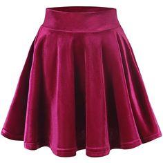 Urban CoCo Women's Vintage Velvet Stretchy Mini Flared Skater Skirt ($9.86) ❤ liked on Polyvore featuring skirts, mini skirts, flared skirt, purple skirt, flare skirt, skater skirt and mini skater skirt