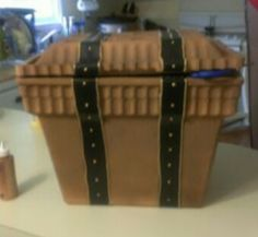DIY treasure chest made from a Styrofoam ice chest and ribbon