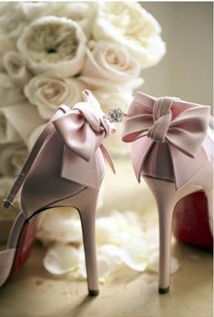 Bridal Shoes - blush pink instead of white or ivory Pretty Shoes, Beautiful Shoes, Pretty In Pink, Beautiful Mess, Beautiful Things, Bridal Shoes, Wedding Shoes, Wedding Dresses, Pump Shoes